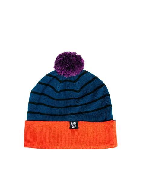 lazy orange lazy oaf lazy happy oaf beanie hat in orange navyorange lyst