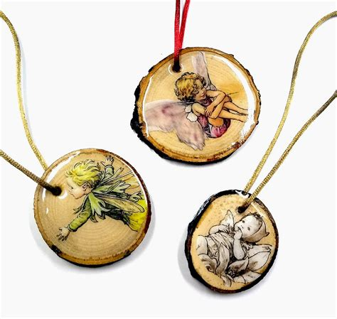 resin crafts flower fairies wood slice ornaments