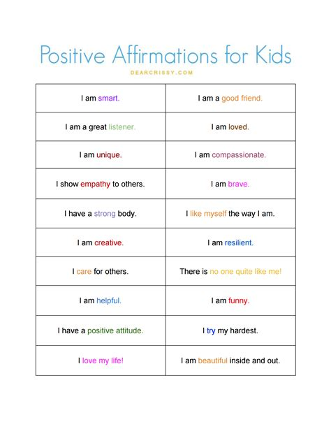 printable affirmations quotes positive affirmations for kids free printable positive