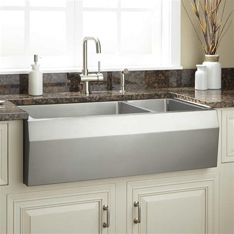Stainless Steel Farmhouse Kitchen Sink 36 Quot Optimum 70 30 Offset Bowl Stainless Steel