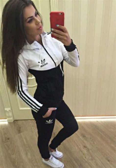 pin  alexa    closet white adidas tracksuit