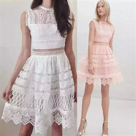 Pink Lace Summer S M L Dress 2016 new arrival self portrait white pink lace embroidery