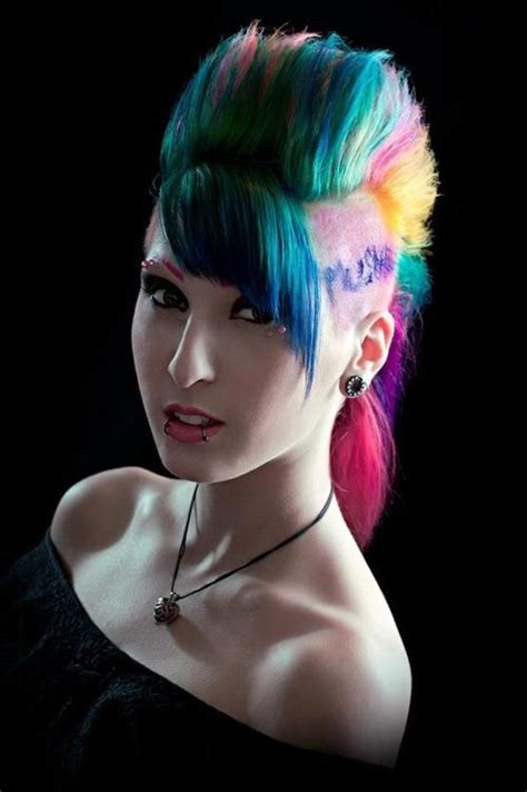 mohawk designs with color 580 best images about colorful hair on pinterest green