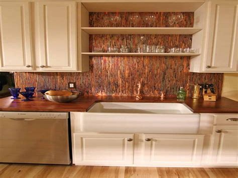 rustic backsplash copper kitchen wood easy glass and