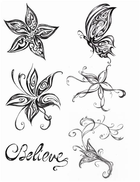 butterfly on flower tattoo designs butterfly tattoos and designs page 292
