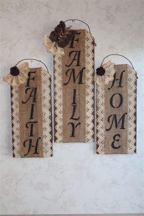 burlap lace and wall decor set of 3 home family faith