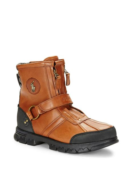 ralph polo boots polo ralph conquest leather work boots in brown for