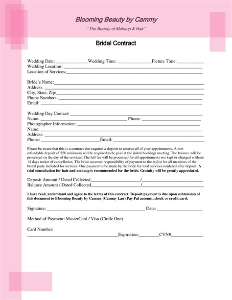 Bridal Contract Template For Hair Bridal Hair And Makeup Contract Template Inspirations Of Wedding Venues Templates Dress