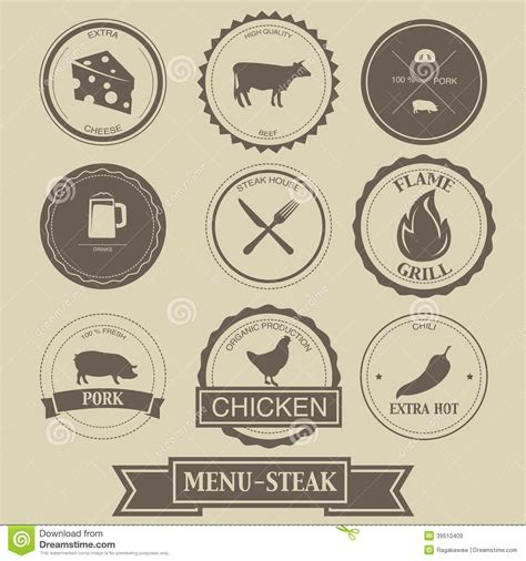 menu design label menu steak label design stock vector image 39510409