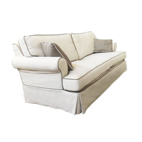 linen three seat sofa with contrast piping in beige