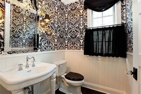 black and white wallpaper for bathrooms black and white damask wallpaper french bathroom refined llc