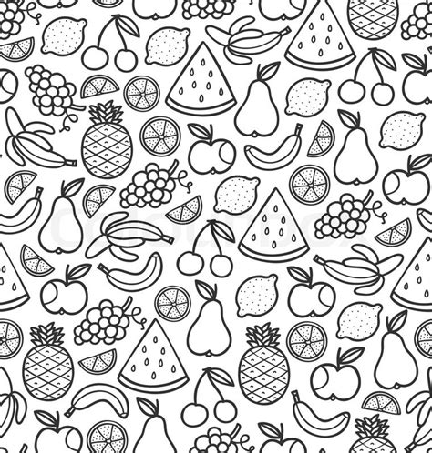 Fruits doodle pattern in black   Stock Vector   Colourbox