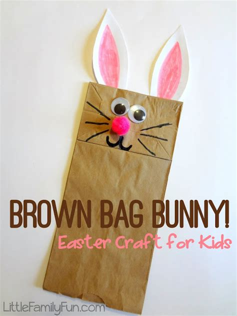 Paper Bag Bunny Craft - family brown bag bunny puppet