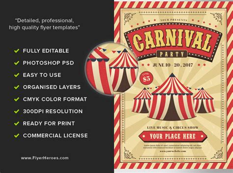 carnival party flyer carnival event party flyer template flyerheroes