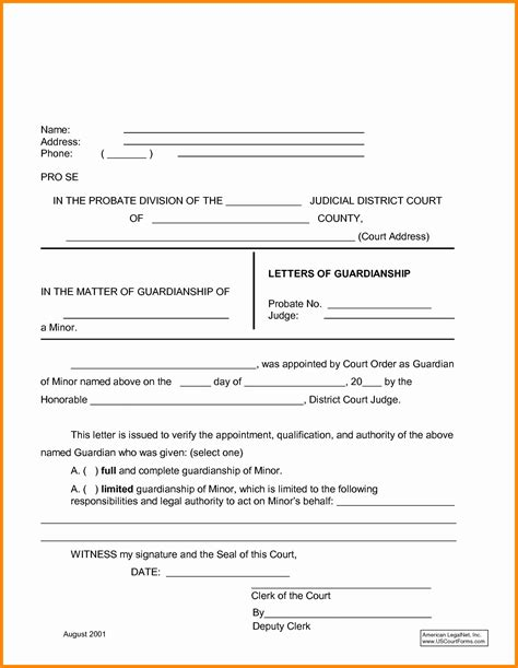 temporary will template temporary guardianship letter template sles letter