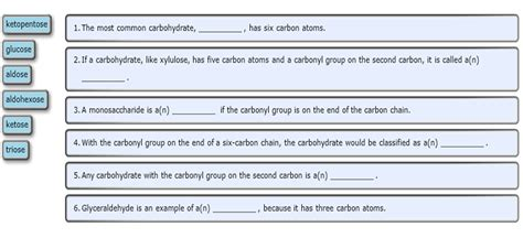 carbohydrates sentence solved part a complete the following sentences part b d