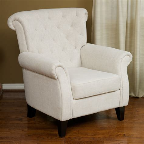 Club Chairs For Living Room Living Room Furniture Light Beige Tufted Fabric Club Chair Ebay