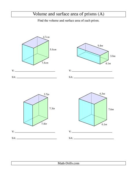 Surface Area Of Triangular Prism Worksheet by Volume And Surface Area Of Rectangular Prisms With Decimal