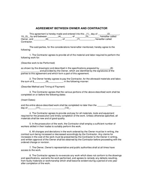 agreement between owner and contractor template contractor agreement form 8 free templates in pdf word