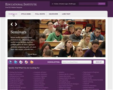 templates for college website free download educational institute free psd website template psd