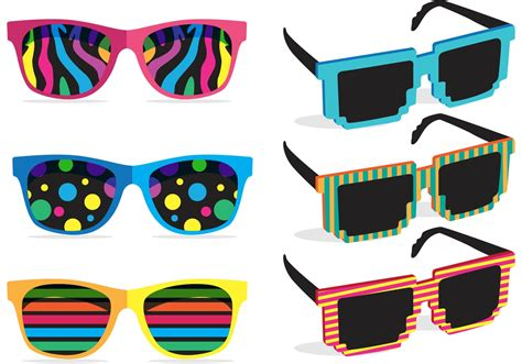 colorful glasses colorful 80 s sunglasses vectors free vector