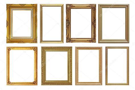 cornici dorate antiche cornici dorate antiche isolate su bianco foto stock