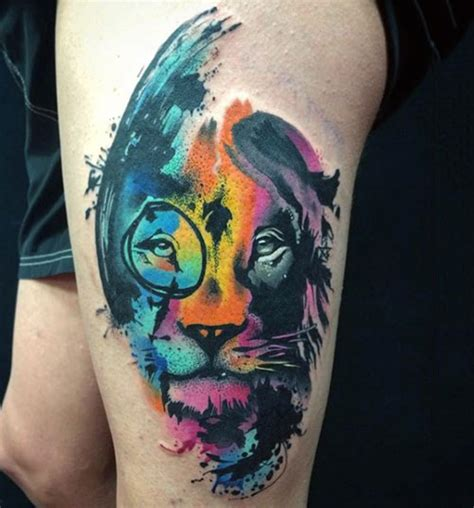 watercolor tattoo lion watercolor designs ideas and meaning