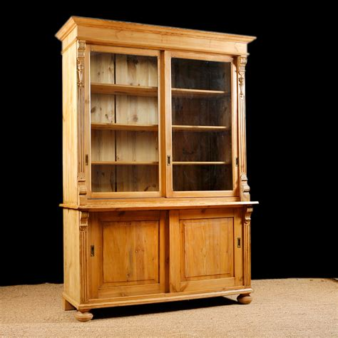 Antique Bookcase In Pine With Glass Doors C 1890 Bonnin Vintage Bookcase With Glass Doors