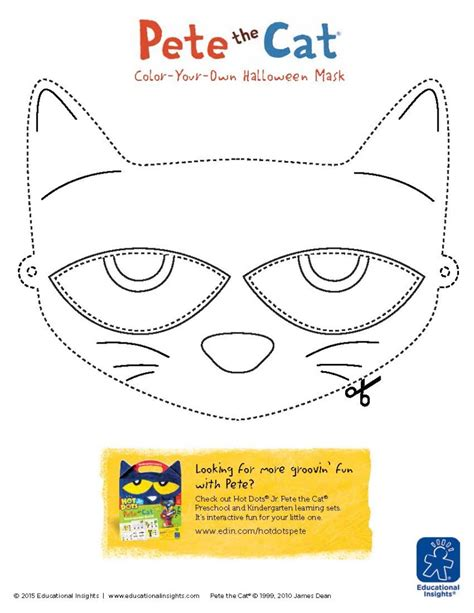 pete the cat printable template acting out diy costume masks for preschoolers