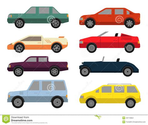 Car Color Types by Cars Icon Set Stock Vector Image 49772854