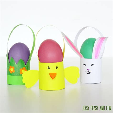 easter crafts with toilet paper rolls toilet paper roll easter craft baskets easy peasy and