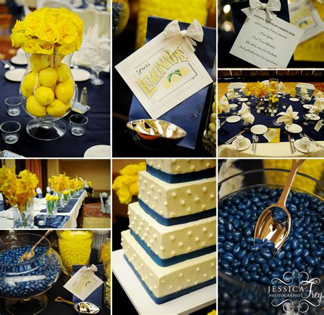 blue and yellow decor wedding flowers to go with navy blue dresses