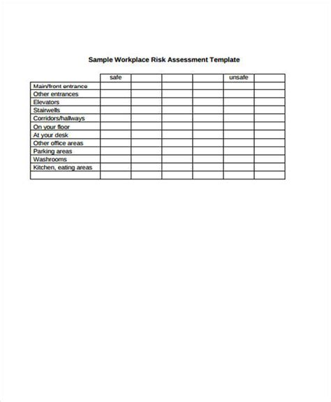 Workplace Risk Assessment Template by 37 Risk Assessment Forms Sle Templates