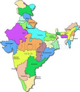 India Outline Map Coloured by Indien Karte Stock Vektor Colourbox