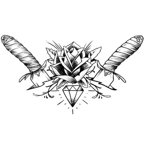 daggers diamond rose tattoo design