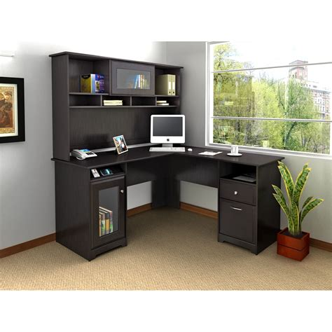l shaped home office desk with hutch bush cab004epo cabot collection 60 l shaped desk package