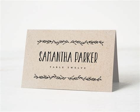 Wedding Place Card Template Rustic by Printable Place Card Template Wedding Place Cards