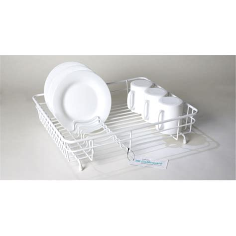 Flat Dish Rack by Delfinware Medium Flat Dish Drainer White