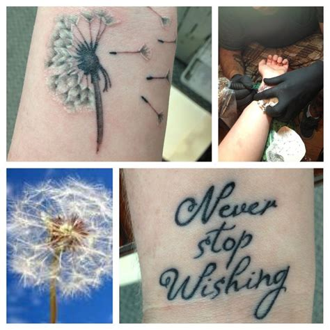 dandelion tattoo wrist dandelion foot tattoos with quotes quotesgram