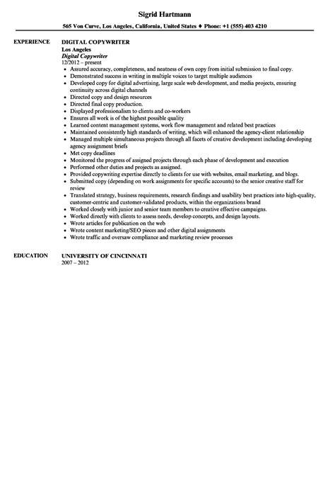 Digital Copywriter Sle Resume by Digital Copywriter Resume Sle Velvet