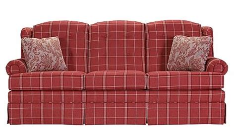 red plaid sofa ruby red plaid on a buttoned back skirted sofa lancer