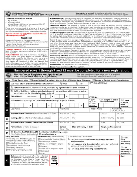 voter registration form florida voter registration application free