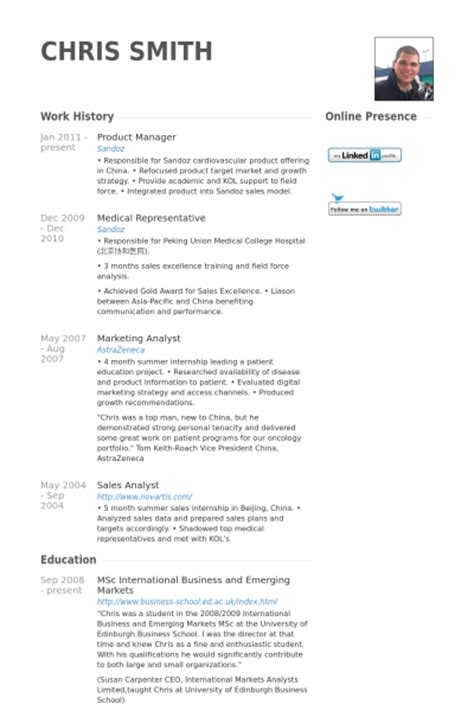 7 product manager cv exle visualcv resume sles