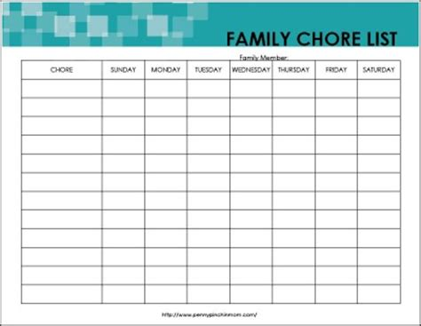 Chores List For Family Free Cleaning Forms
