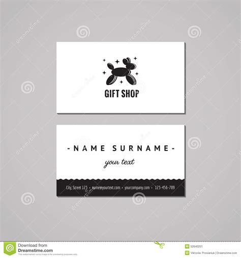 Gift Shop Business Card - gift shop and souvenirs business card design concept gift shop logo with balloon dog