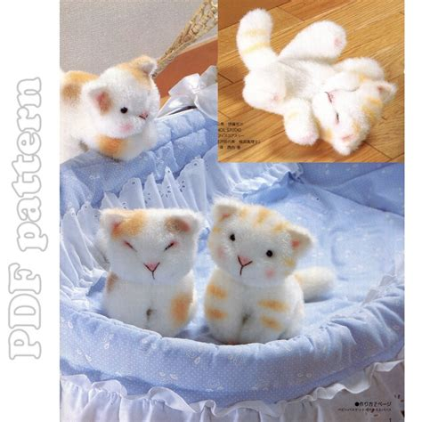 cat kitten pdf sewing pattern tutorial from little cat fur plush and tutorial sewing pattern pdf