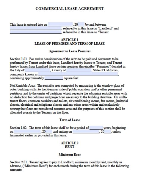 rental agreement template california free california commercial lease agreement pdf word doc