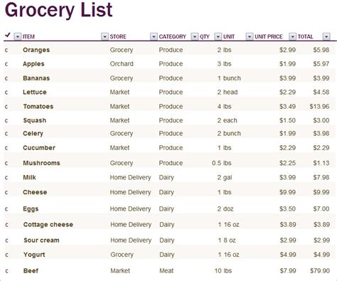 printable itemized grocery list shopping list template 6 free pdf word documents