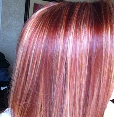 blonde with violet red underneath hair i ve done light golden blonde highlights with bright cherry love