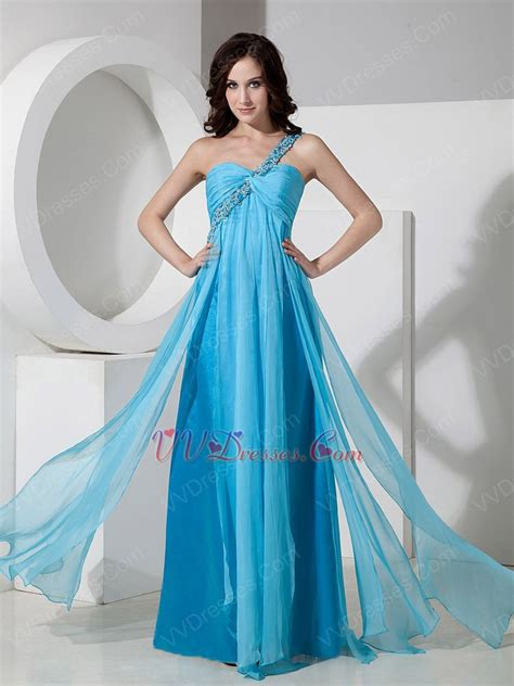 aqua color dress one shoulder floor length aqua chiffon prom dress 2014